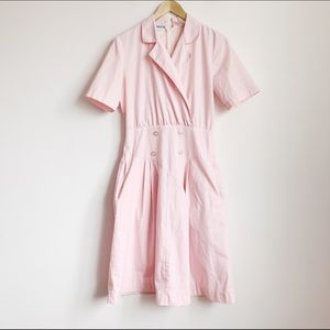 vtg pale pink double breasted short sleeve dress